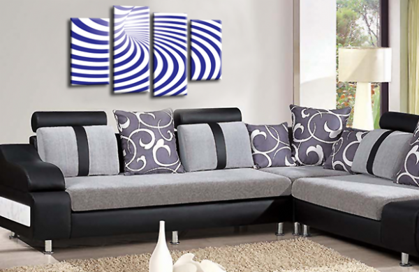 Abstract Wall Art Blue White Swirls Canvas Picture Print